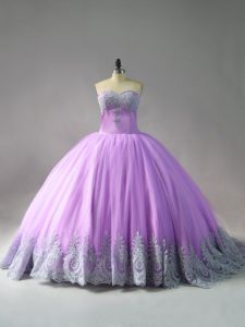 Most Popular Lilac Sweet 16 Dresses Sweetheart Sleeveless Court Train Lace Up