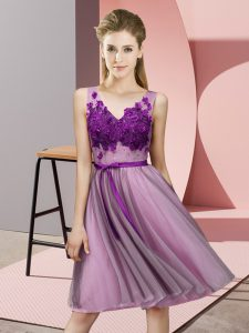 Exceptional V-neck Sleeveless Quinceanera Court of Honor Dress Knee Length Appliques Lilac Tulle