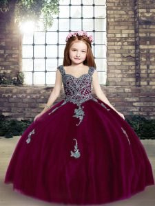 Sleeveless Lace Up Floor Length Appliques Winning Pageant Gowns