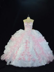 Customized Pink And White Womens Party Dresses Sweet 16 and Quinceanera with Beading and Pick Ups Sweetheart Sleeveless Lace Up