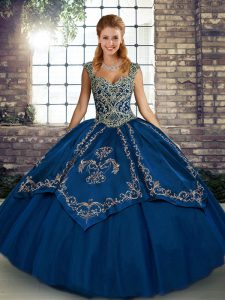 Custom Designed Sleeveless Tulle Floor Length Lace Up Vestidos de Quinceanera in Blue with Beading and Embroidery