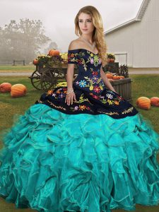 Exceptional Organza Sleeveless Floor Length Sweet 16 Dress and Embroidery and Ruffles