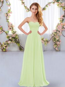 Yellow Green Dama Dress Wedding Party with Ruching Sweetheart Sleeveless Lace Up