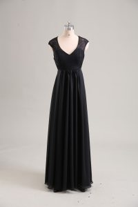Cap Sleeves Floor Length Lace Zipper Evening Dress with Black
