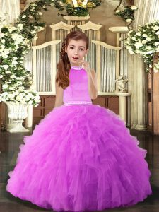 Inexpensive Halter Top Sleeveless Tulle Little Girls Pageant Dress Beading and Ruffles Backless