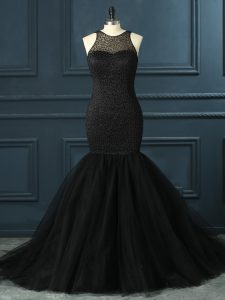Scoop Sleeveless Zipper Homecoming Dress Black Tulle