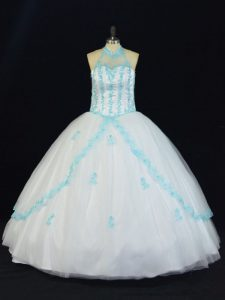 Fantastic Blue And White Tulle Lace Up Party Dress Sleeveless Floor Length Appliques