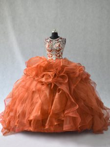 Rust Red Lace Up Quince Ball Gowns Beading and Ruffles Sleeveless