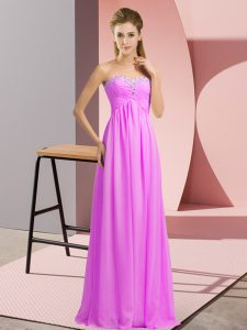 Sweet Floor Length Lace Up Dress for Prom Lilac for Prom and Party and Military Ball with Beading