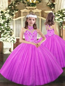 Appliques Glitz Pageant Dress Lilac Lace Up Sleeveless Floor Length