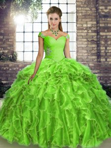 Fancy Sleeveless Beading and Ruffles Lace Up Quinceanera Gowns with Brush Train