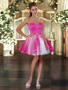 Flare Mini Length Lace Up Prom Party Dress Fuchsia for Prom and Party with Belt