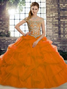 Shining Lace Up 15th Birthday Dress Rust Red for Military Ball and Sweet 16 and Quinceanera with Beading and Pick Ups Brush Train