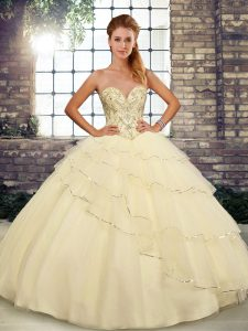 Artistic Brush Train Ball Gowns Sweet 16 Quinceanera Dress Light Yellow Sweetheart Tulle Sleeveless Lace Up