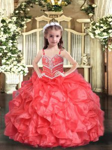 Beauteous Organza Sleeveless Floor Length Little Girl Pageant Gowns and Beading and Ruffles
