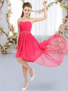 Fine Hot Pink Lace Up Strapless Beading Court Dresses for Sweet 16 Chiffon Sleeveless