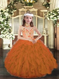 Sleeveless Tulle Floor Length Lace Up Little Girls Pageant Dress in Orange with Appliques and Ruffles