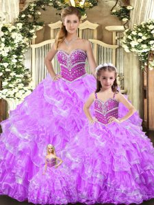 Stylish Lilac Vestidos de Quinceanera Sweet 16 and Quinceanera with Beading and Ruffles Sweetheart Sleeveless Lace Up