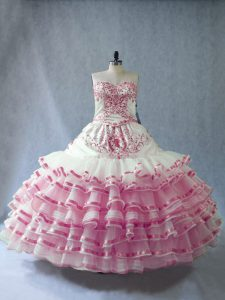 Sleeveless Lace Up Floor Length Embroidery and Ruffled Layers and Bowknot Sweet 16 Dresses