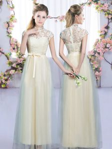 Champagne Quinceanera Court Dresses Wedding Party with Lace and Bowknot High-neck Cap Sleeves Zipper