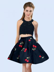 Elegant Black Dama Dress for Quinceanera Wedding Party with Pattern Halter Top Sleeveless Lace Up