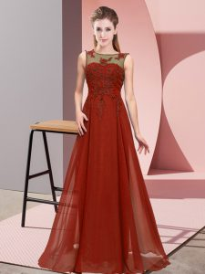 Sleeveless Chiffon Floor Length Zipper Quinceanera Court Dresses in Rust Red with Beading and Appliques