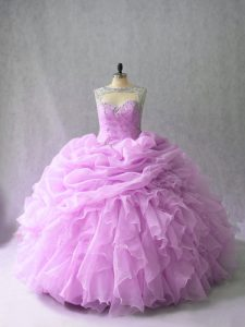 Lilac Sleeveless Brush Train Beading and Ruffles Quince Ball Gowns