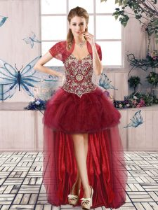 Gorgeous Burgundy Prom Dresses Prom and Party with Beading and Ruffles Off The Shoulder Sleeveless Lace Up