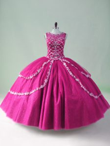 Fuchsia Tulle Zipper Scoop Sleeveless Floor Length Quinceanera Gown Beading and Appliques