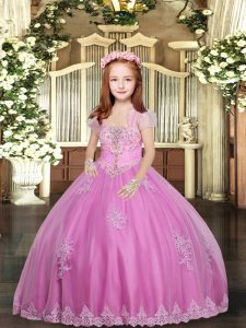 Enchanting Ball Gowns Pageant Gowns For Girls Lilac Straps Tulle Sleeveless Floor Length Lace Up