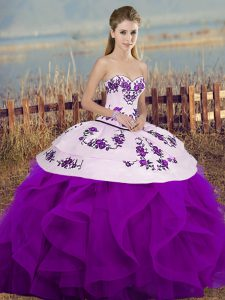 Fantastic Sweetheart Sleeveless Tulle Party Dress Embroidery and Ruffles and Bowknot Lace Up