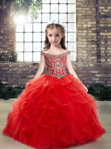 Red Ball Gowns Tulle Off The Shoulder Sleeveless Beading and Ruffles Floor Length Lace Up Child Pageant Dress