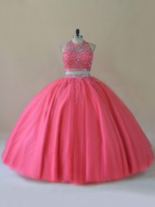 Romantic Coral Red Halter Top Backless Beading Juniors Party Dress Sleeveless