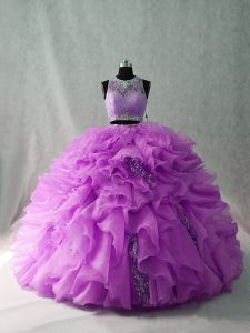 Sleeveless Organza and Sequined Brush Train Zipper Vestidos de Quinceanera in Lilac with Beading and Ruffles