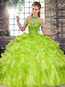 Fashion Beading and Ruffles Sweet 16 Dress Olive Green Lace Up Sleeveless Floor Length