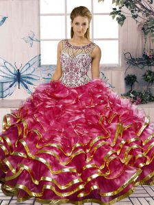 Sweet Floor Length Lace Up Quinceanera Gown Fuchsia for Military Ball and Sweet 16 and Quinceanera with Beading and Ruffles