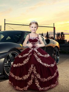 Satin Sleeveless Floor Length Little Girls Pageant Dress Wholesale and Embroidery