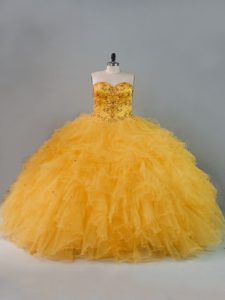 Gold Ball Gowns Sweetheart Sleeveless Tulle Floor Length Lace Up Beading and Ruffles Sweet 16 Quinceanera Dress