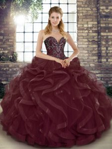 Smart Sweetheart Sleeveless Quinceanera Gowns Floor Length Beading and Ruffles Burgundy Tulle