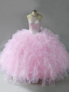 Fitting Pink Lace Up Halter Top Beading and Ruffles Casual Dresses Tulle Sleeveless