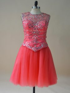 Luxurious Coral Red A-line Beading Prom Dress Lace Up Tulle Sleeveless Mini Length