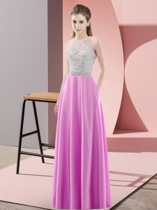 Sexy Lilac Scoop Backless Beading Homecoming Dress Sleeveless
