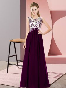 Dark Purple Sleeveless Beading and Appliques Floor Length Dama Dress for Quinceanera