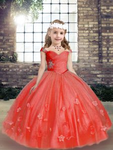 Wonderful Coral Red Straps Neckline Beading and Hand Made Flower Pageant Dress for Teens Sleeveless Lace Up