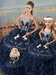 Extravagant Navy Blue Ball Gowns Sweetheart Sleeveless Satin and Organza Floor Length Lace Up Embroidery and Ruffles Quince Ball Gowns