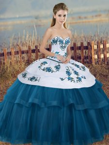 Exquisite Blue And White Ball Gowns Embroidery and Bowknot Quince Ball Gowns Lace Up Tulle Sleeveless Floor Length