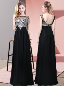 Fancy Floor Length Backless Formal Dresses Black for Prom and Party with Beading