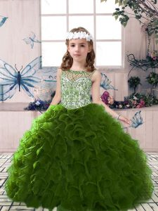Cute Olive Green Scoop Lace Up Beading and Ruffles High School Pageant Dress Sleeveless