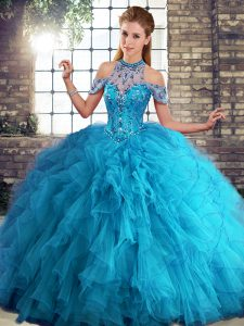 Beautiful Blue Halter Top Lace Up Beading and Ruffles Quinceanera Gown Sleeveless