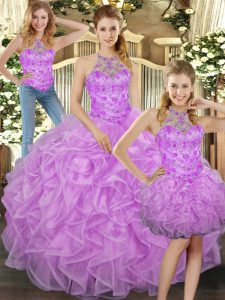 Halter Top Sleeveless Tulle Quinceanera Gowns Beading and Ruffles Lace Up